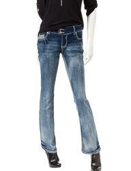 Amethyst Women's Soft Light Wash Slim Bootcut Jeans - Dark Blue - Size: 9