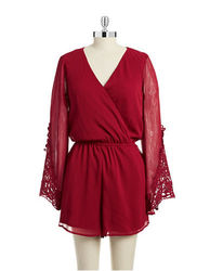 Lord & Taylor Women's Crochet Sleeve Romper - Red - Size: Large