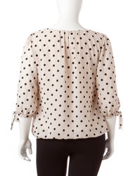 Sara Michelle Women's Pleated Front Polka Dot Top - Tan / Black - Size: 1X