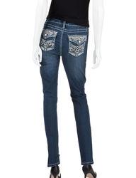 Earl Jean Women's Skinny Jewel Aztec Jeans - Blue - Size: M