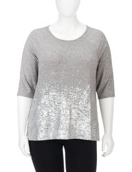 Hannah Women's Plus-sizes Grey & Metallic Accent Top - Grey - Size: 3X