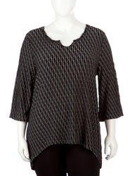 Hannah Women's Plus-sizes Abstract Striped Textured Top - Black Multi - 1X