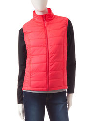 Just One Women's 2Pc Raglan Top & Puffer Vest - Coral/Black - Size: L