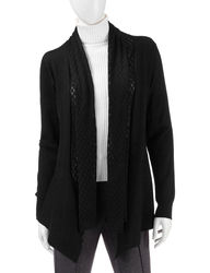Doublju Women's 3/4 Long Sleeve Open Front Cardigans - Black - Size: S