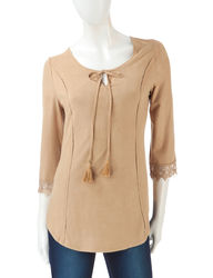 Signature Studio Sueded Faux Suede Peasant Top - Brown - Size: Large