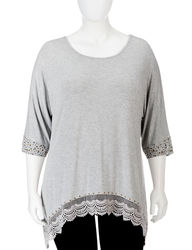 Earl Jean Plus-sizes Embellished Crochet Trim Tunic Top - Grey - Size: 2X