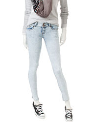Women's Wanna Betta Butt Double Button Acid Wash Jeans - Blue/Black - 11