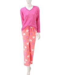 Wishful Park Women's 2PC Heart Burnout Plush Pajama Set - P/O - Size: S