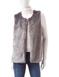 Signature Studio Women's Solid Color Faux Fur Vest - Silver - Size: XL