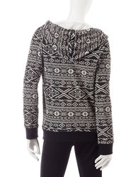 Inspired Hearts Women's Aztec Fleece Hoodie - Ivory/Black - Size: Large