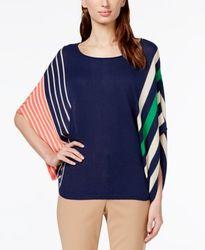 Hannah Women's Multi-Stripe Poncho Sweater - Navy - Size: Medium