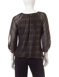 Petite Women's Foil Dot Print Bubble Top - Black/Gold - Size: P/L