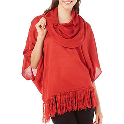 My Michelle Women's Fringe Hem Poncho Top - Red - Size: Small