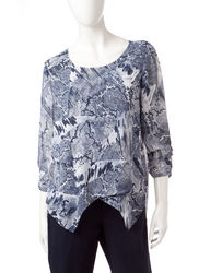 Valerie Stevens Women's Printed Sheer Top - Blue/White - Size: x-Large