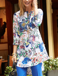 3/4 SLV FLORAL BIG SHIRT