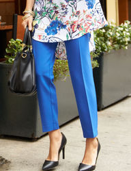 """Valerie Stevens Women's Bond Zip Pocket 18"""" Ankle Pant - Ivory - Size: 14"""