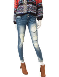 Almost Famous Women's Roll Cuff Ankle Jeans - Dark Wash - Size: 7