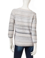 Hannah Women's Striped Knit Sweater - Multi - Size: Small