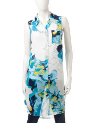 AGB Women's Multicolor Floral Print Tunic Top - Black - Size: Large