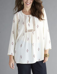 Signature Studio Women's Plus-size Aztec Print Peasant Top - Cream - 2X