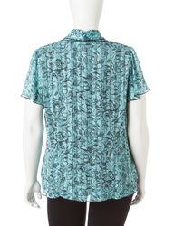 Rebecca Malone Women's Plus Floral Layered-Look Top - Aqua/Black - Size: S