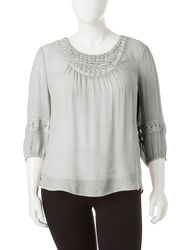 Hannah Women's Plus-size Pearl Accent Peasant Top - Grey - Size: 1X