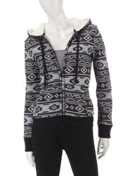 Almost Famous Women's Black & Grey Aztec Print Sherpa Jacket -Blk/White -M