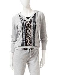 Pink Rose Women's Aztec Front Velour Activewear Hoodie - Medium Grey - M