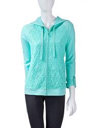 Silverwear Women's Lace Front Zip Hoodie - Blue - Size: Large
