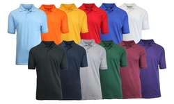 Mens Pique Polos: Royal/heather Grey/red - Large (3-pack)