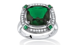 Seta Women's 4.88 TCW Simulated Emerald Halo Cocktail Ring - Green/White