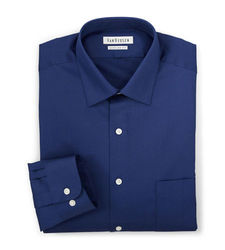 Van Heusen Men's Lux Sateen Fitted Spread Collar Shirt - Blue - Size: M