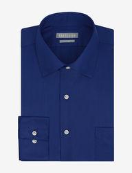 Van Heusen Men's Lux Solid Color Fitted Dress Shirt - Blue - Sz: 16X32/33