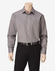 Van Heusen Men's Lux Solid Color Dress Shirt - Grey - Size: 17 1/2 X 32/33