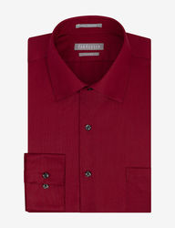 Van Heusen Men's Lux Solid Color Fitted Dress Shirt - Red - Sz: 17 X 32/33