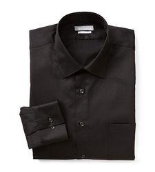 Van Heusen Men's Lux Fitted Dress Shirt - Black - Size: 17 x 32/33