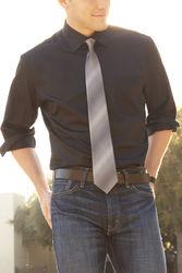 Van Heusen Men's Lux Solid Color Dress Shirt - Black - Size: 17 1/2X32/33