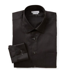 Men's Poplin Fitted Solid Collar Dress Shirt - Black - Size: 18 X 34/35