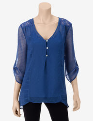Figueroa & Flower Women's Swiss-Dot Textured Top - Blue - Size: M