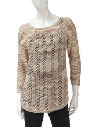US Sweaters Women's 3/4 Sleeve Wavy Glitter Sweater - Winter Storm - XL