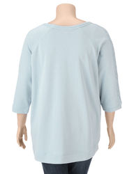 Hannah Women's Solid Color Lace Accented Hi-Lo Sweater - Light Blue - 3X