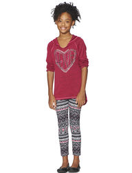 Girls 2-pc Studded Hacci Top & Aztec Print Leggings Set - Pink - Size:7-16