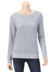 Ruby Rd. Women's Shades of Grey Jewel Embellished Sweatshirt- Pink - Small
