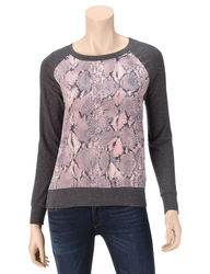 Ruby Rd. Women's Shades of Grey Reptile Print Raglan Top - Pink - Size: S