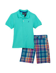 Nautica 2 Piece Polo Shirt & Multicolor Plaid Shorts - Green - Size: 4-7