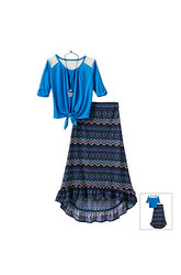 Beautees Girls Kids 2-Pc Solid Color Crochet Top & Skirt Set - Blue -Sz: M