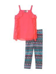 2Pc Swiss Dot Chiffon Top & Aztec Print Leggings - Girls 7-11 - Pink/Multi