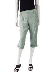 Gloria Vanderbilt Women's Tori Solid Color Linen Cargo Capris - Green - 10