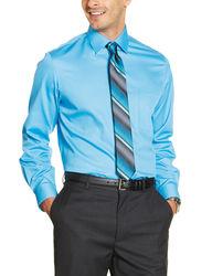 """Van Heusen Men's Lux Sateen Dress Shirt - Blue - Size: 35""""-36"""" Sleeve"""