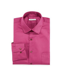 Van Heusen Men's Solid Color Lux Dress Shirt - Dark Pink -Size: 17 X 32/33
